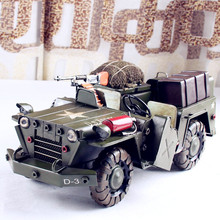 Vintage Military Jeep Car Model metal collection toy crafts convertible Iron ornaments  26.5*13*11cm