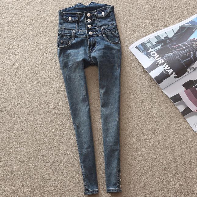 2017 New High Waist Skinny Jeans Women Slim Fashion Denim Long Buttons Pencil Pants Color plus size 8XLОдежда и ак�е��уары<br><br><br>Aliexpress