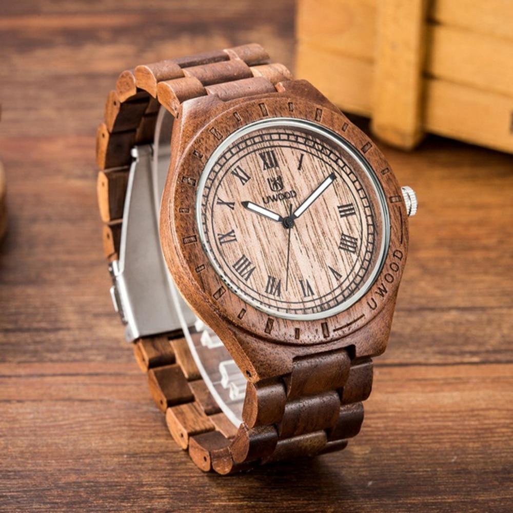 Drop Shipping Men Women Dress Watch UWood Mens Natural Wooden Wristwatch Wood Watch Quartz Casual Watch Men Relogio Masculino<br>