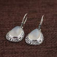 Vintage Chalcedony Earring 925 Silver Women Pink Stone S925 Thai Sterling Silver boucle d'oreille Drop Earrings