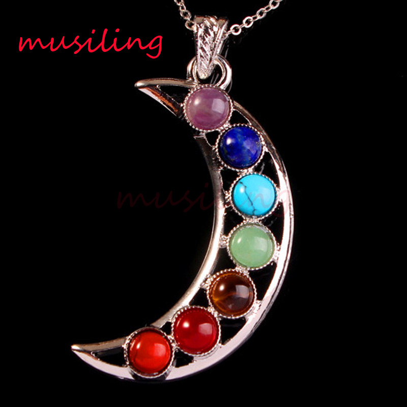 Wholesale Pendants Natural Stone 7 Chakra Beads Metal Reiki Pendant Pendulum Charms Amulet Fashion Men Jewelry 30X Mix Order