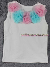 Summer t shirt Baby t shirt sleeveless Chiffon flowers Baby girls pettitop cotton t shirt