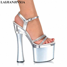 LAIJIANJINXIA Ultra high with sexy women's shoes Nightclub 18 cm thick with sandals manufacturers selling big yards of shoes