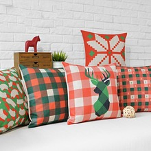 Free shipping geometric checked plaid reindeer snowflake cross plus pattern red green cushion cover decorative throw pillow case
