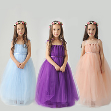 2-10Y royal princess dress floor-length strapless girls pageant dress for birthday party costume shoulderless flower girl dress