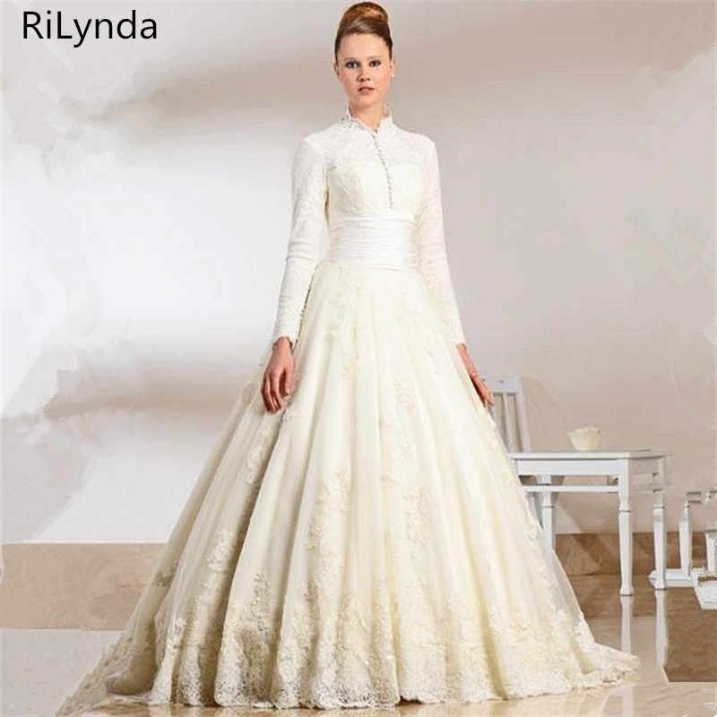 77c0ceffef34 Detail Feedback Questions about NEW Lace Muslim Wedding Dress Ball Gown  Floor Length High Neck Long Sleeve Muslim Bridal Wedding Dress vestido de  festa on ...