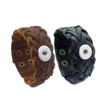 Buy Hot 011 Real Original Genuine Leather Handmade Weave 18mm Snap Button Bracelet Interchangeable Charm Jewelry Women Men for $2.60 in AliExpress store