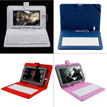 "6 color Univesal 9"" PU Leather Stand For Tablet Keyboard Protective Case Cover Holder With Micro USB"