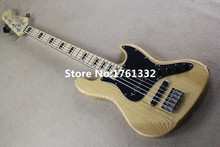 Hot sale 21 frets 5 strings natural wood color electric bass guitar with black pickguard,black rectangle inlay,can be changed
