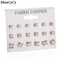 MissCyCy 9 Pairs Mix Design Square Star Flower Heart Silver Stud Earrings For Women AAA Cubic Zirconia Earrings
