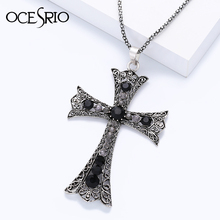 OCESRIO New Black Big Cross Pendant Necklace with rhinestones Punk Necklaces for women cool jewelry 2016 nke-g59(China)