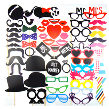 New design 58 Pcs/set Wedding Decoration and Party Favors Multicolor Fun Lip photo booth props wedding party photography(China)