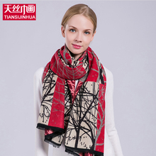 2017 Winter Cashere Printing Women Poncho Double Sides Branch Luxury Brand Scarf Scarves Woman Thicker Pashmina Shawls Tassel