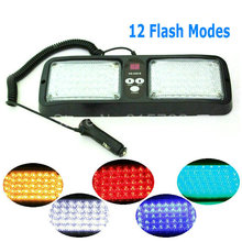 86 LED Super Bright Car Truck Visor Strobe Flash Light Panel 2x43 LED 6 Optional Colors Red Blue Amber White Green 12 Modes
