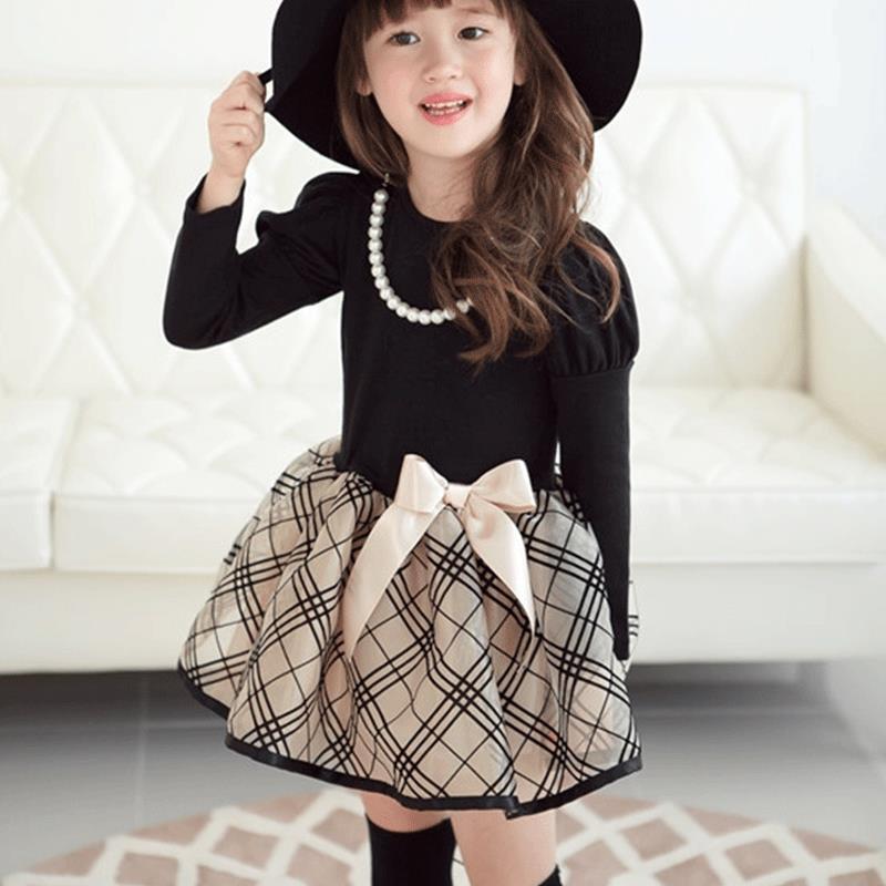 2016 New arrival Baby Girls Princess dress long sleeve Polka Dot Plaid Party Fancy Dress girls clothes Kids Formal Dress Y3<br><br>Aliexpress