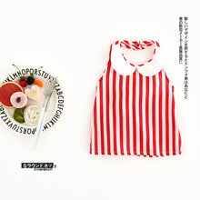 2017 new products infant baby collar shirt girls red stripe designs shirt children summer clothes NZ150(China)
