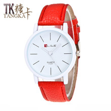 The new fashion women's watches simple style white clockwise display color leather strap quartz watch leisure series(China)