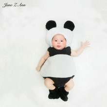 Jane Z Ann Infant unisex panda animal plush costume set 3-6 month baby studio picture props accessories hat+bodysuit+shoes(China)