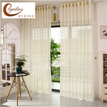 [byetee] New Jacquard Curtain Cut Breathable Living Room Curtains Balcony Curtain Screens Tulle Living Room Curtains(China)