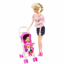 Barbie Dolls Accessories Pink Assembly Doll Baby Stroller Trolley Nursery For Barbie Doll Girl Gift Kid Play House Furniture Toy