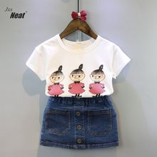 Girls short sleeve suit children's clothing summer cotton cartoon short sleeve t-shirt genuine denim skirt suit children's suit