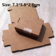 50pcs/lot-7.3*5.8*2.6cm Kraft Paper Craft Gift Boxes, Handmade Gift/ Jewelry/ Snack Packaging Aircraft Boxes