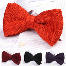 New 2016 Men's Double-deck Knitted Bow Tie Male Wedding Bowties Many Styles Pattern Butterfly Ties For Men butterfly winter tie(China)
