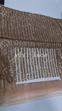 5yards MMC024  glued glitter sparkle champagne gold stripe tulle mesh lace  for  dress/evening dress/fashion show,ship by dhl
