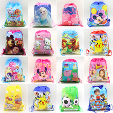 1pcs Pokemon Go Decoration Moana Backpack Birthday Party Soy Luna Non-Woven Fabric PJ Masks Drawstring Mickey Gift Bags Supplies