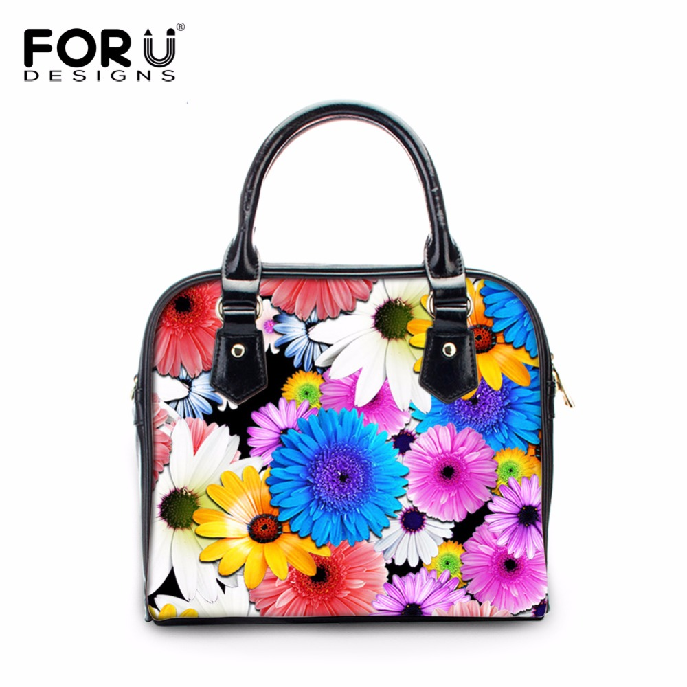 FORUDESIGNS Fashion Women Small Leather Handbag 3D Floral Prints Woman Top-Handle Bags 2017 Brand Cross-body Tote Bolsa Feminine<br>
