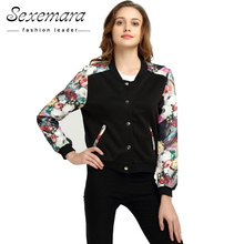 Plus Size Bomber Baseball Jacket Button Suit 2017 Women Spring Autumn Print Tops Long Sleeve Basic Outerwear Coat Jacket
