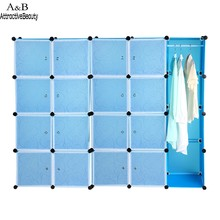 20 Cubes Folding Combination Wardrobe Portable PP Material Closet Storage Organizer Wardrobe Clothes Rack Blue #10