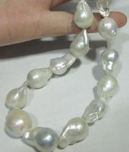 "Hot sale new Style >>>>>AAA+ SOUTH SEA WHITE BAROQUE PEARL NECKLACE 18"" 18-23mm"