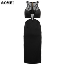 Women Black Bodycon Cut Out Dress Patchwork Sexy Clubwear Female Knee Length Robe Gown Clothing vestido Party dree jupe clothes(China)