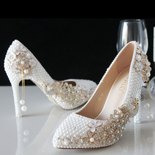 Distinguished Luxury Pearl Sparkling Glass Slipper Bridal Shoes Wedding shoes High Heels Dress shoes wedding shoes