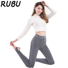 RUBU 2017 Fashion Women Solid Color Tights Velvet Thick Pantyhose Cotton Seamless Winter Warm Stockings Beige Soft Tights 5AD145(China)