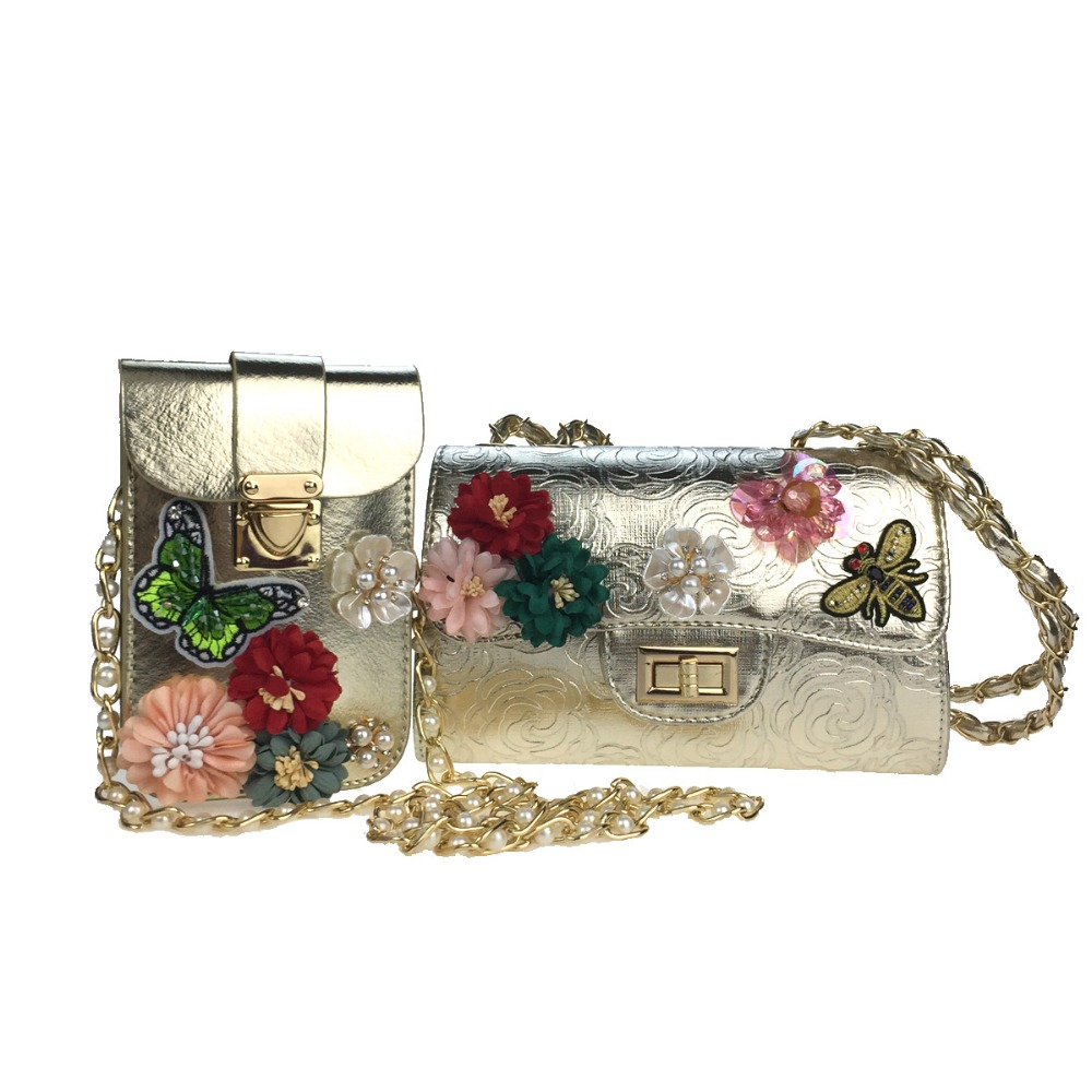 Women Bag Sets Poly urethane Casual Office &amp; Career FlapRhinestone Appliques Pearl Detailing Bead Sequined Floral Shoulder bag<br>