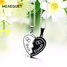 Meaeguet Trendy Bijoux Heart Collier Pendant Necklace Stainless Steel Chain Statement Necklace Best Friend Forever Kolye Jewelry(China)