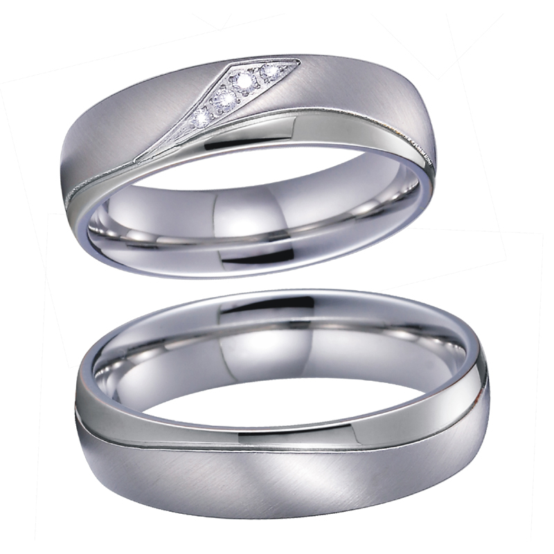 Unique sparkly CZ Zircon Promise Wedding Band Set men's Couple Rings Pair titanium jewelry women's ring Anillos Alliance Anel  (4)