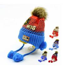 Pompom Hat Warm Earflap Beanie Children Winter Fleece Skullies Beanies Knitted Hat Boys Girls Cotton Caps Cute Baby Cartoon Cap(China)