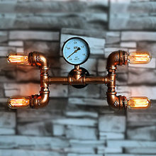 Wrought Iron Water Pipe Wall Lamp 4 Heads Vintage Aisle Light Loft Metal Wall Lamp Use Edison Incandescent Light E27 Bulb