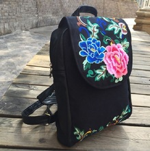 Cotton Fabric Backpack peony beautiful lady young Backpacks usual Backpacks Fashion Packsack Fashion Female bag 2017 new version