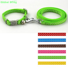 (30 Pieces/Lot) Mixed Wholesale Polka Dot Nylon Collar and  Matched Leashes Lead for Dog Pet