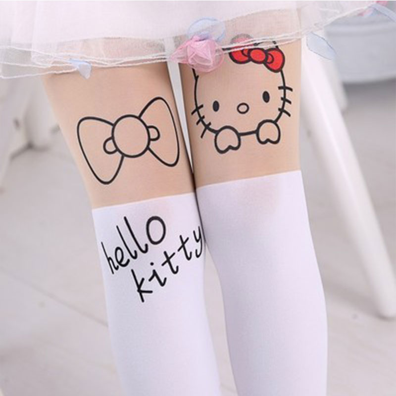 Summer Baby Kids Girls Thin Leggings Knee Cute Cartoon Patchwork Velvet Stocking white Cartoon Kitty Cat Leggings 3-9Y 22