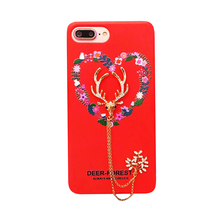 2017 Fashion cartoon animals hand made forest deer metal chain bracelet love flower wreath tpu cell phones case cover For Iphone(China)
