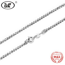 WK NEW Solid 925 Sterling Silver Beads Necklace Rosary Women Ladies Girls 45cm 50cm Long Chain DIY Necklaces Jewellery WO NM015(China)