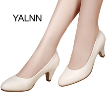 YALNN Classic Nature Women Shoes Leather 5cm Med Spike Heel High Quality Slip on Classic White Shoes Office Girls Pump Shoes(China)