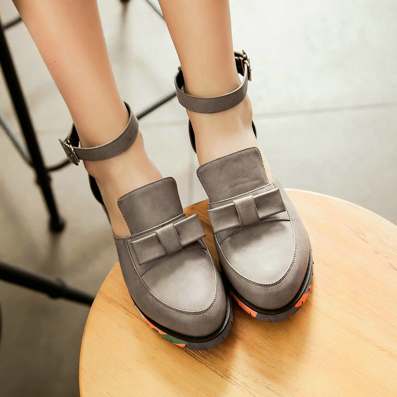 Ankle strap Bow Thick Soles Sandals Thick Heel Cover Heel Ladies Shoes<br><br>Aliexpress