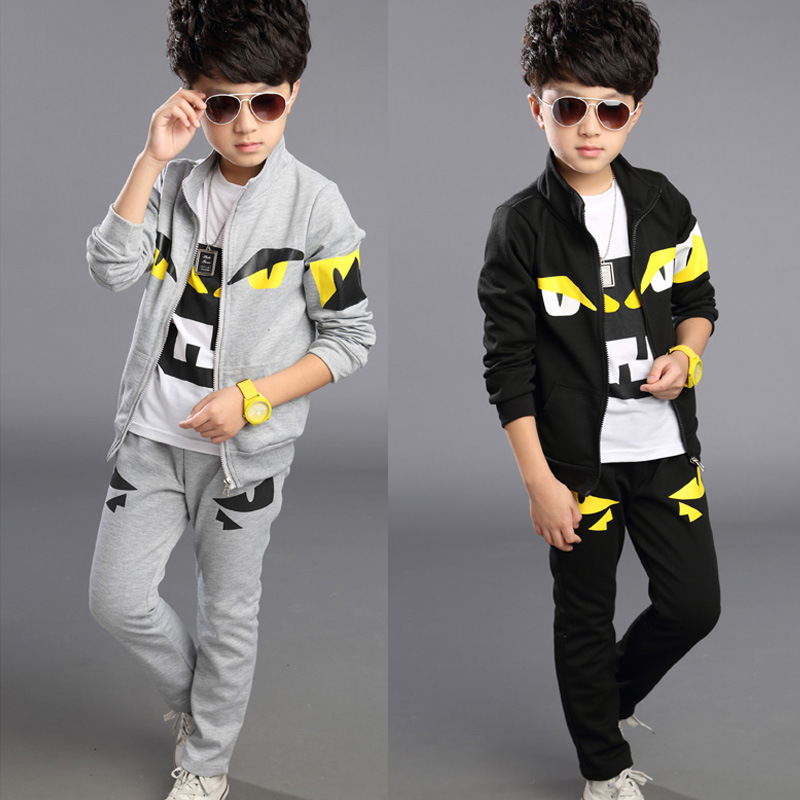 2017 new childrens clothing spring and autumn boys and girls clothes T-shirt + trousers + monster jacket sports three-piece<br><br>Aliexpress