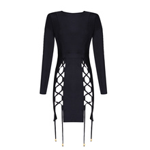 High Quality Black Long Sleeve Front Open Fork Mini Bandage Dress Night Club Party Dress